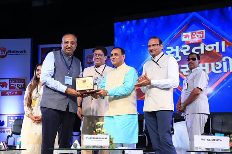Founder & President Donate Life Felicitated with Suratna Shiromani by Hon'ble Chief Minister of Gujarat - 2018